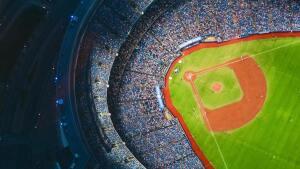Blick auf eine Baseball-Arena von oben